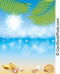 Summer holidays vector background with paradise island view