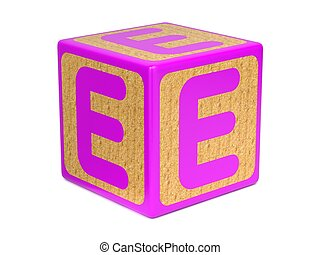 Letter E on Childrens Alphabet Block. - Letter E on Pink...