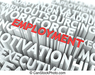 Employment Wordcloud Concept - Employment - Word in Red...