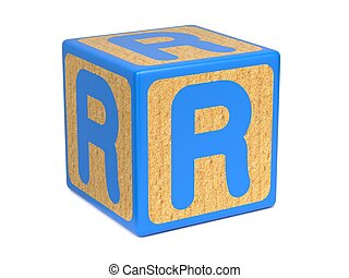 Letter R on Childrens Alphabet Block. - Letter R on Blue...