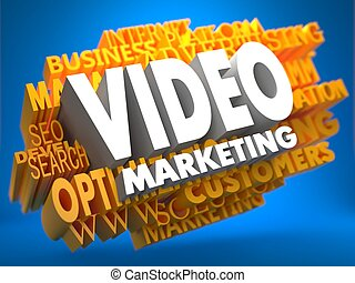 Video Marketing Wordcloud Concept - Video Marketing on White...