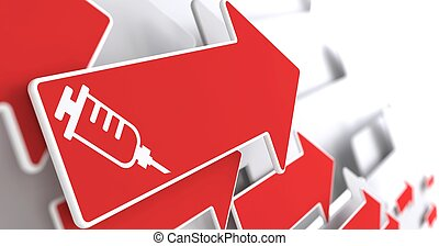 Syringe Icon on Red Arrow . - Syringe Icon on Red Arrow on a...