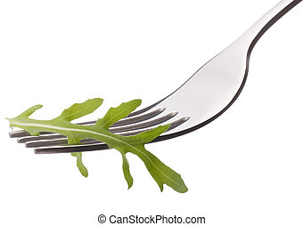 Fresh rucola salad on fork isolated on white background...