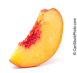 Nectarine fruit segment isolated on white background cutout...