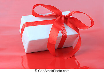 White box, bow and ribbon for Valentines Day or other events...