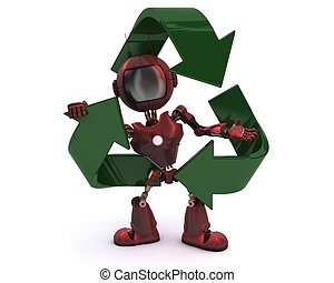 Android with recycling symbol