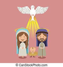 holy design over pink background vector illustration