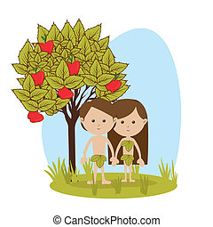 adam and eve over white background vector illustration