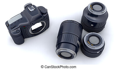 Digital SLR Camera Body and Lenses - 3D Render of a digital...