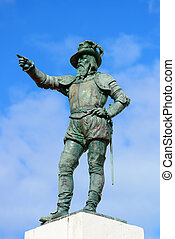 Juan Ponce De Leon statue in old San Juan, Puerto Rico