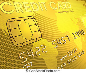Credit Card - Close up of a credit card The world map on the...