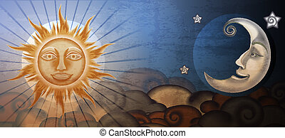 Grunge sun and moon in front of clouds Fresco imitation