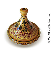 Moroccan Tagine isolated on white, oriental pot for cooking...
