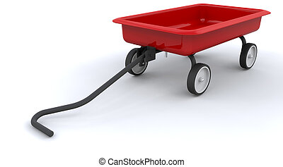 toy red wagon - 3d render ofa childs toy red wagon