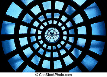 Building inside glass ceiling pattern detail