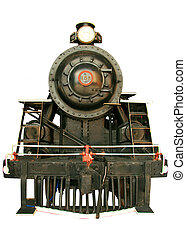 Locomotive - Old black beautiful locomotive showing signs of...