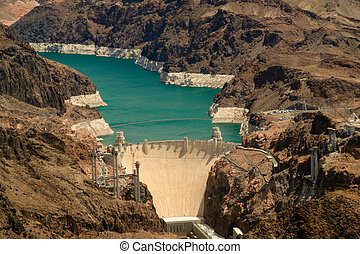 Hoover Dam - Aerial shot of the Hoover Dam, close to Las...