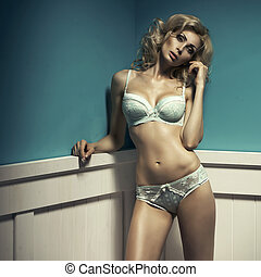 Fashion sexy shoot of young sexy woman in lingerie