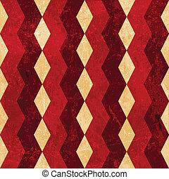 Red beige rhombus grunge background - Geometric pattern made...