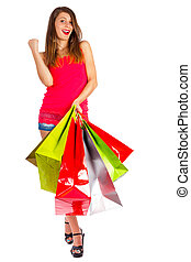 Best Shopping Day Ever - Satisfied woman after shopping with...