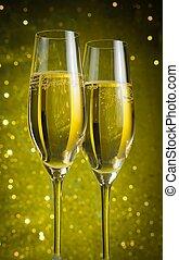 dos, champaña, Flautas, dorado, burbujas