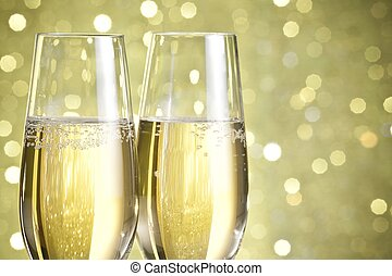 flutes of champagne abstract background - flutes of...