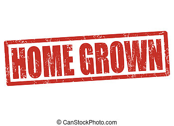 Home grown stamp - Home grown grunge rubber stamp on white,...
