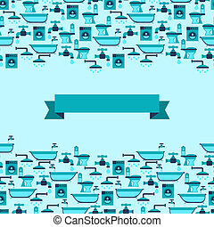 Seamless pattern with plumbing equipment