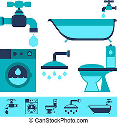 Plumbing equipment icons in flat design style