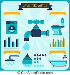 Save the water Poster with infographics in flat style