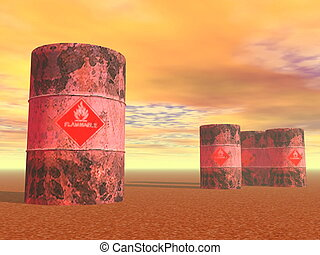 Barrels with flame sign - 3D render