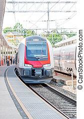 Train in Norway - Modern train in Scandinavia