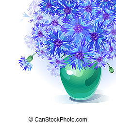 bluebottle bouquet in vase - Vector greeting card with...
