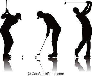 golfer - vector illustration of  golfer silhouette
