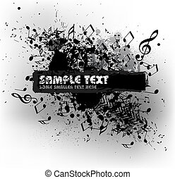 Grunge musical background with blots and place for your text...