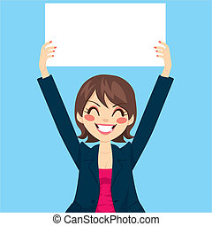 Businesswoman Holding White Board - Pretty businesswoman...
