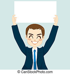Businessman Holding White Board - Handsome businessman...