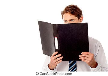 Male executive reviewing his company documents - Manager...