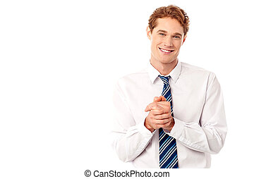 Corporate guy posing with clasped hands - Stylish...