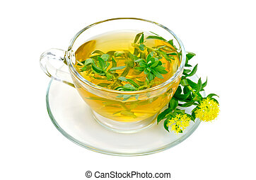 Herbal tea with flowers Rhodiola rosea in a glass cup -...