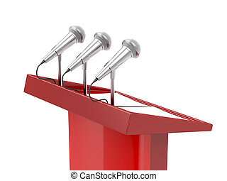 Rostrum with microphones and empty documents