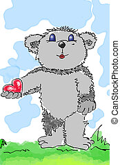 beary-heart - grafic: a grey bear is holding a red heart