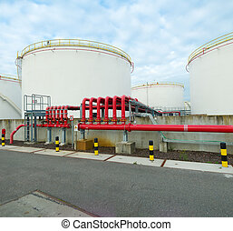 oil storage - large storage tanks for oil and petrol in the...
