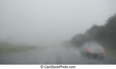 rain car road - rain falls terrible highway stops cars image...