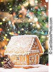 gingerbread house over defocused lights of Chrismtas...