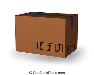 cardboard box - a large cardboard box on a white background