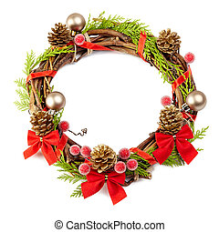 christmas wreath with red ribbon,pine cones and golden...