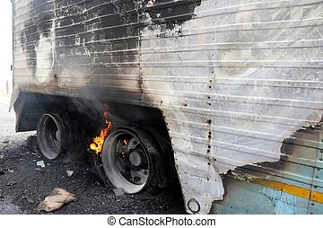 Burning Truck Wheels Accident - Truck trailor disastor with...