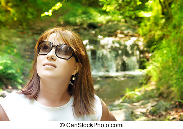 young woman enjoyment nature