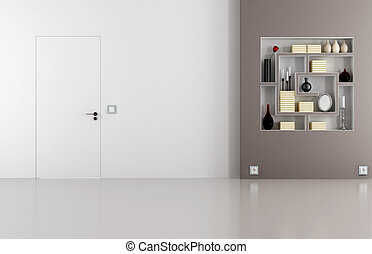 Doors flush with the wall in white and brown room -...